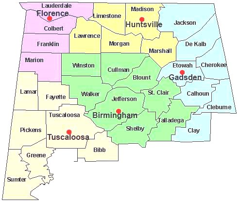 Office And Contact Information Northern District Of Alabama - Map of northern alabama